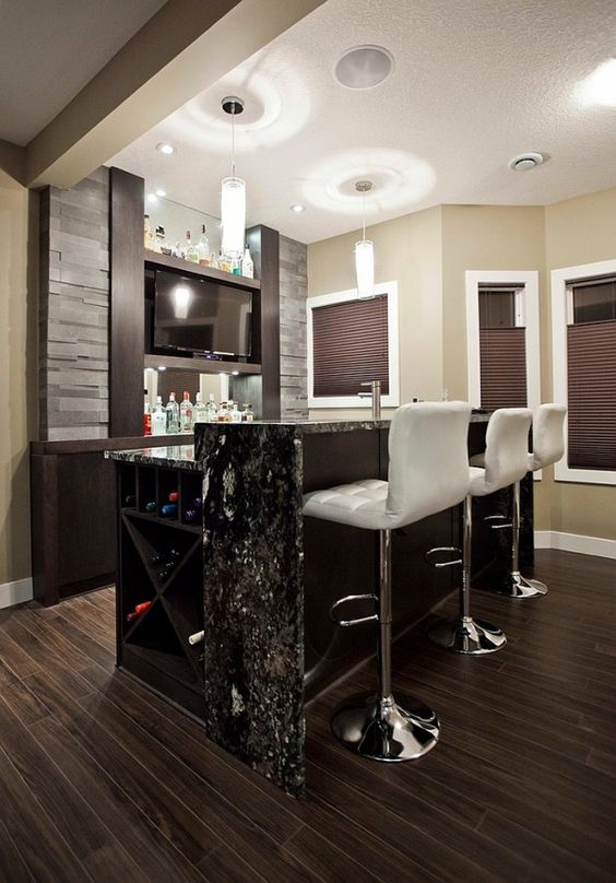 gorgeous chocolate and white basement bar