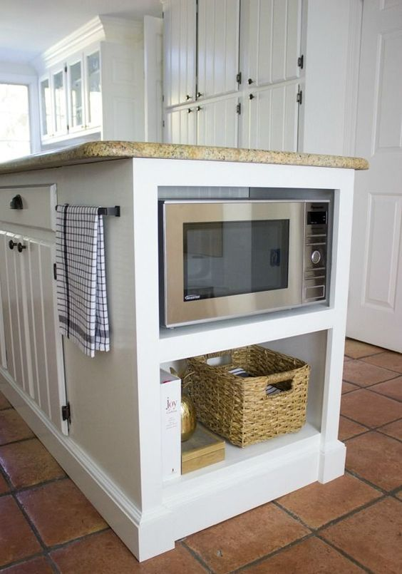 kitchen island with a microwave
