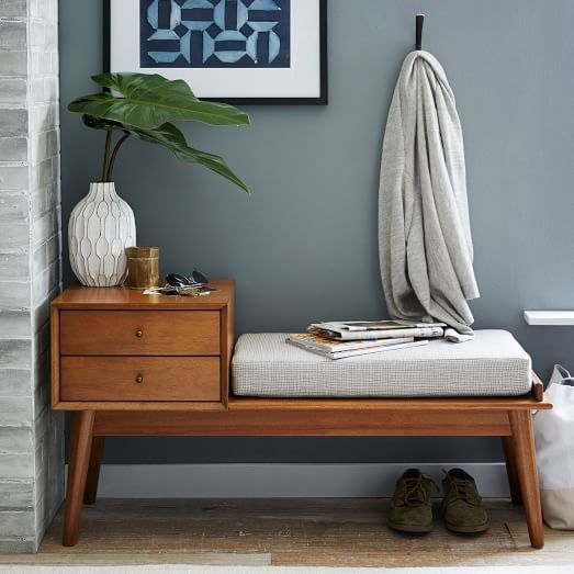 practical mid-century storage bench