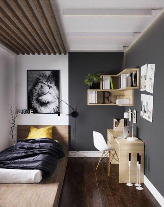 a teen room with a practical platform bed