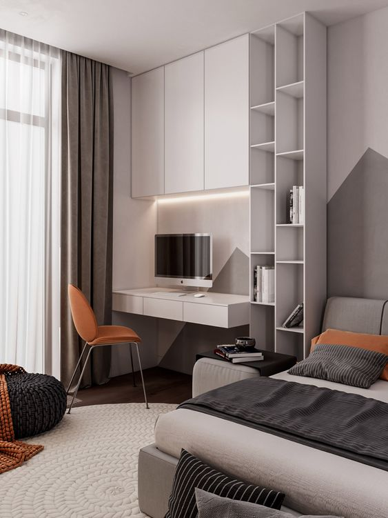 a contemporary teen room with an upholstered bed, a wall-mounted desk and a cabinet over it, soem open shelves and knit and crochet touches