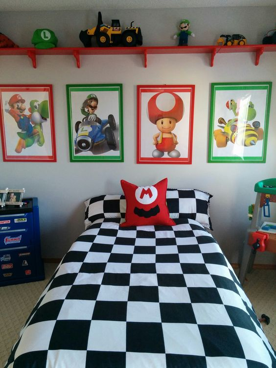 a colorful Mario Brothers themed kid's bedroom done in green, red, blue and black and white