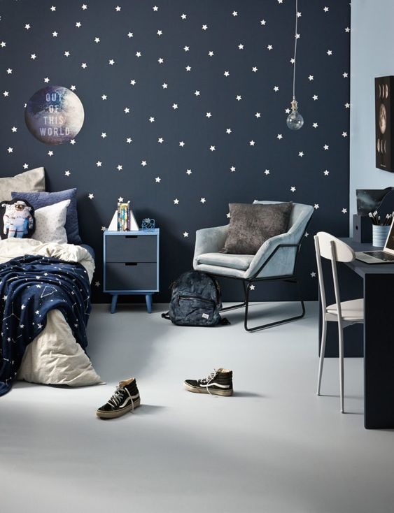 a cool space themed kid's room done in navy, grey and white, with a star pattern incorporated and blue and grey furniture