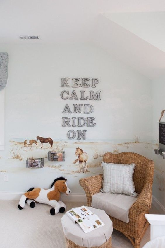 horse farm themed kids' room with an artwork on the wall, toys and wicker furniture feels cozy and relaxed