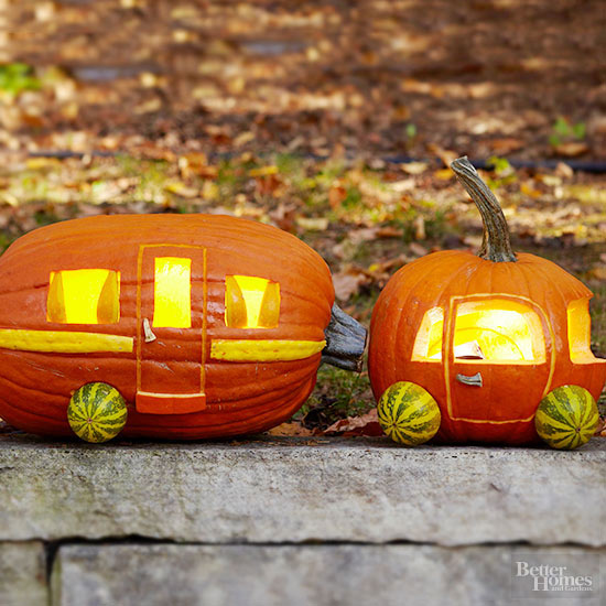 contemporary carving idea for all those camping funs out there - Creative Halloween Pumpkin Carving Ideas