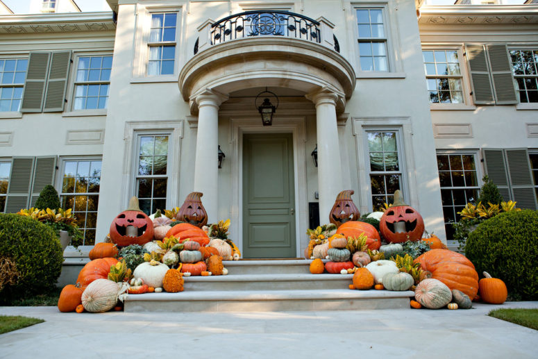 to easily turn a festive fall display into a halloween one simply draw several scary faces - Halloween Display Ideas