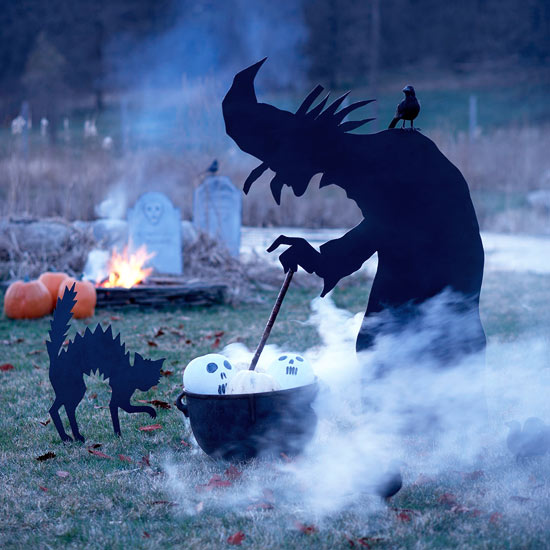 cool outdoor halloween decorating ideas life size witch silhouette wickedly stirring a concoction in a large pot would definitely - Front Yard Halloween Decorations