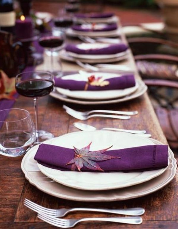 Purple Thanksgiving table settings aren't that traditional but this color is spectacular, and some of its dark shades can be really cozy.