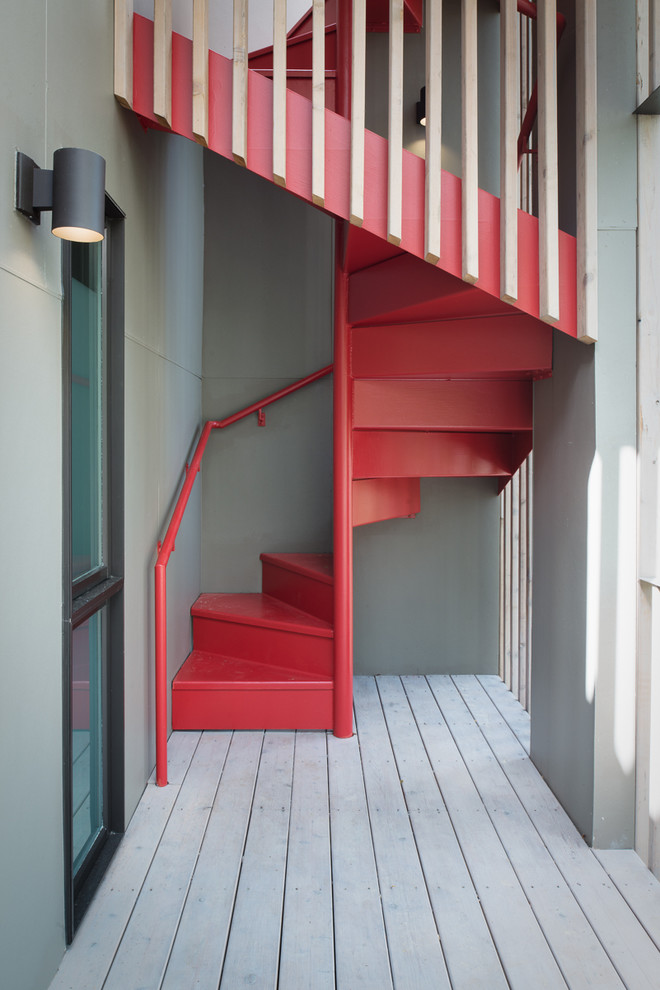 A red steel staircase would become a focal point of any space.