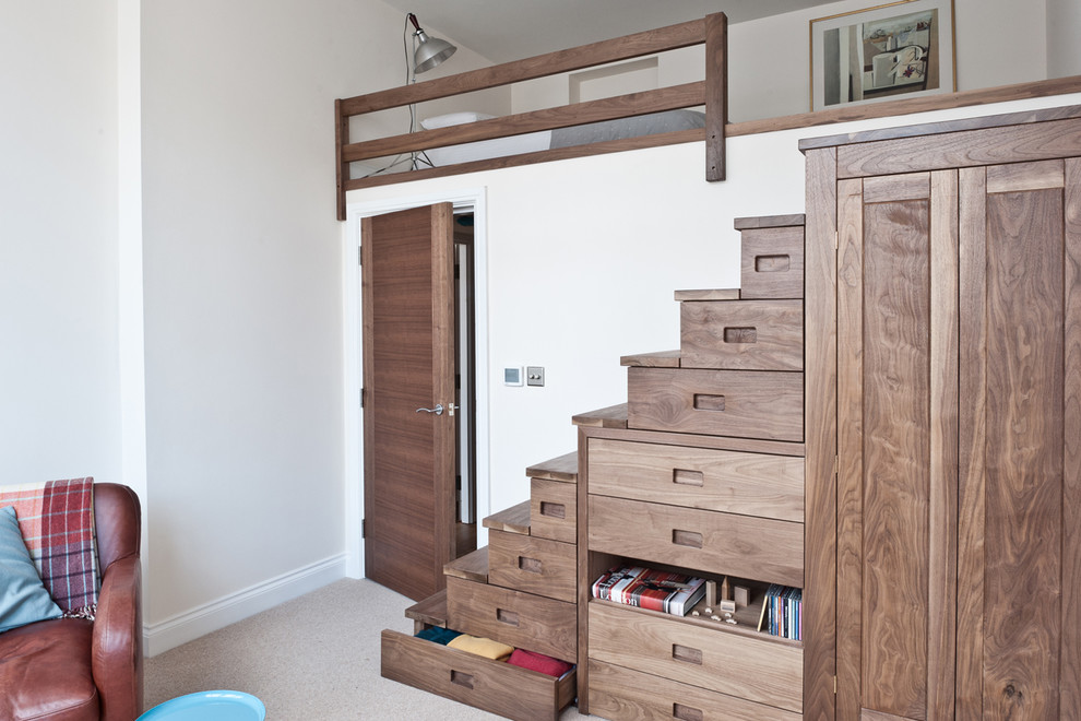 This storage staircase features an amazing amount of drawers and even a built-in wardrobe.