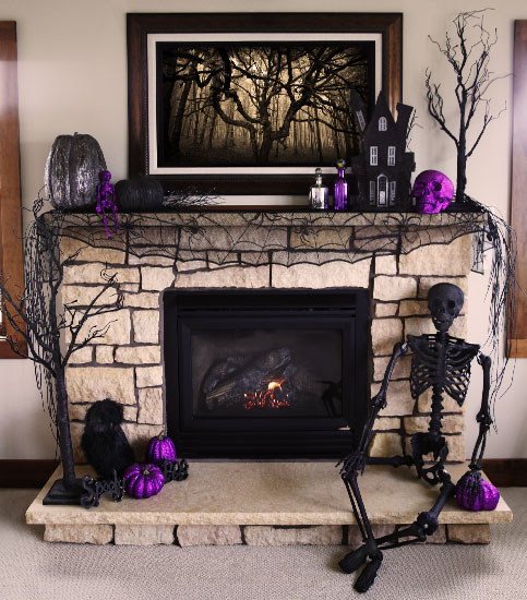 purple is a very beautiful and dramatic color so its great for halloween decor adding - Halloween Mantle