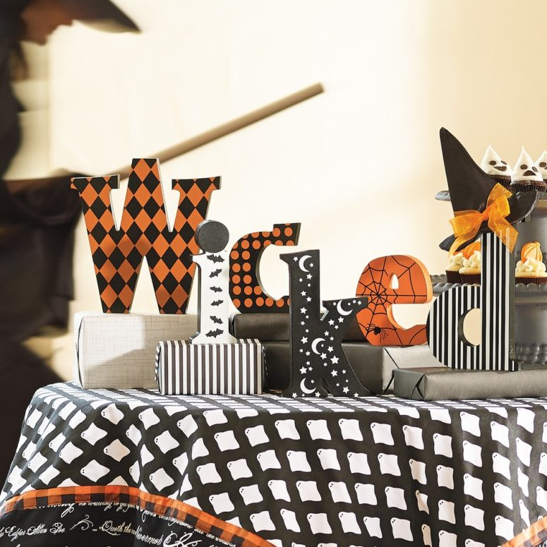 Share a bewitching message right on your mantel with block letters.