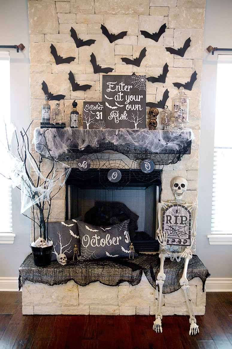 70 great halloween mantel decorating ideas digsdigs. Black Bedroom Furniture Sets. Home Design Ideas