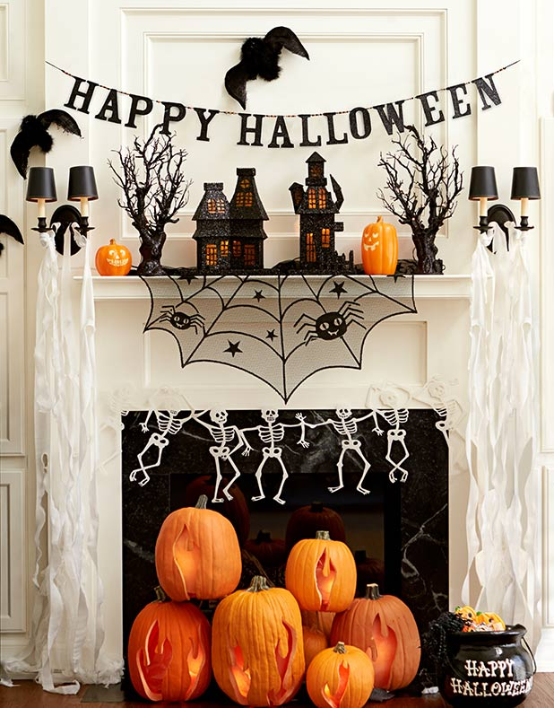 70 great halloween mantel decorating ideas digsdigs - Decoration maison halloween ...