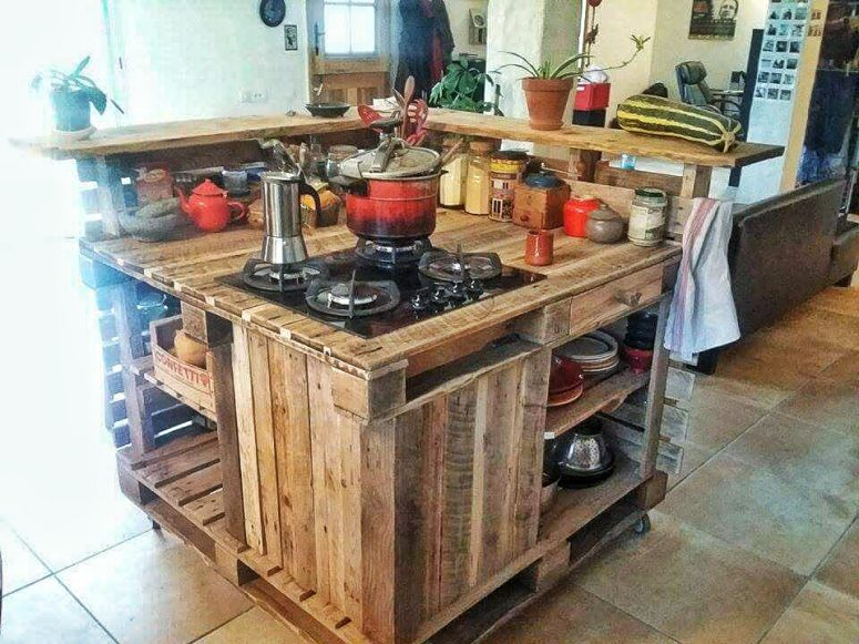 a kitchen island could be made of shipping pallets and other wood scraps