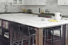 a kitchen island could easily provide dining space for four people
