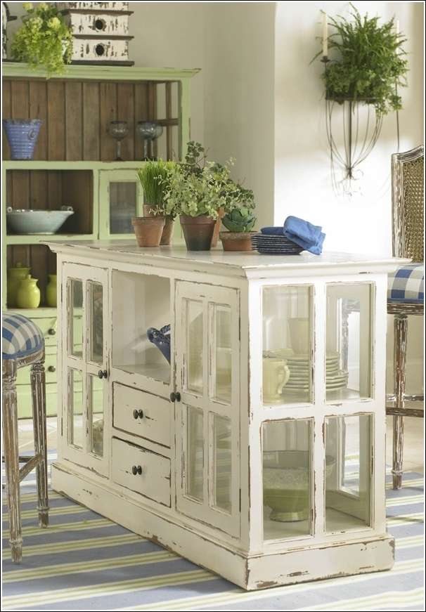 an unqiue kitchen design from old windows - Kitchen Island Design Ideas