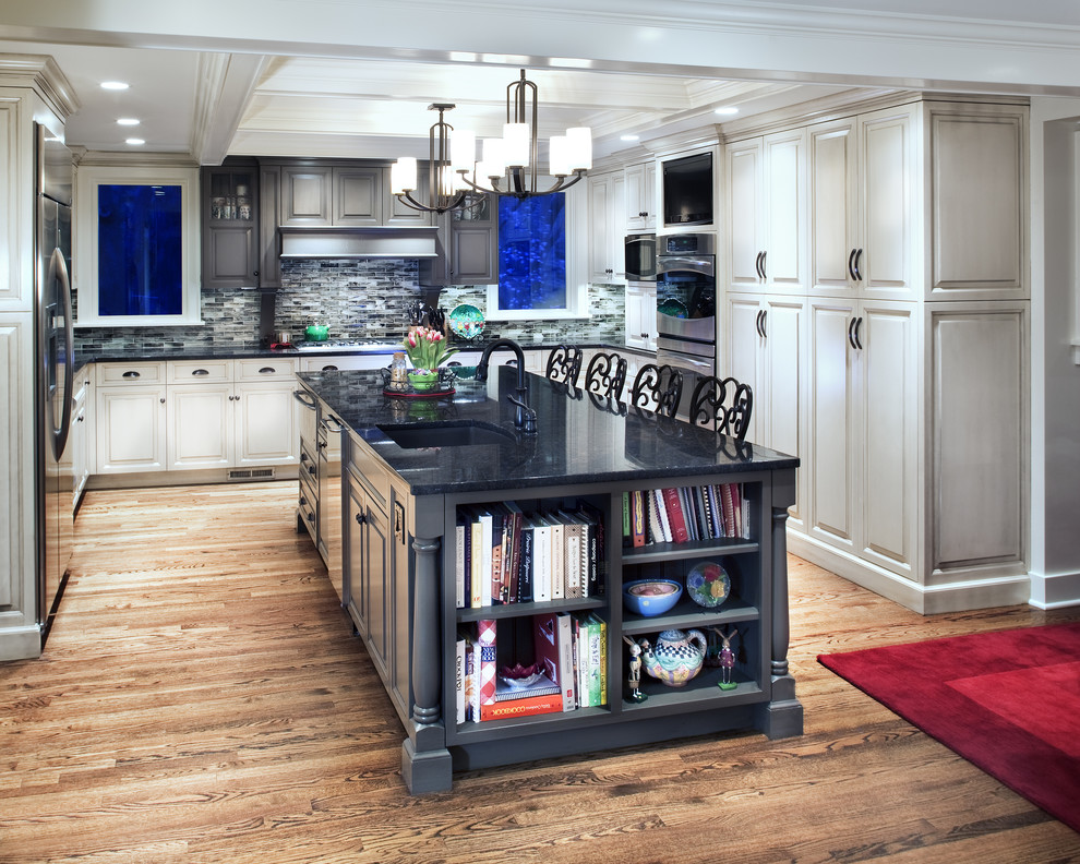 beautiful gray kitchen island design with shelves on the end for books and ceramic