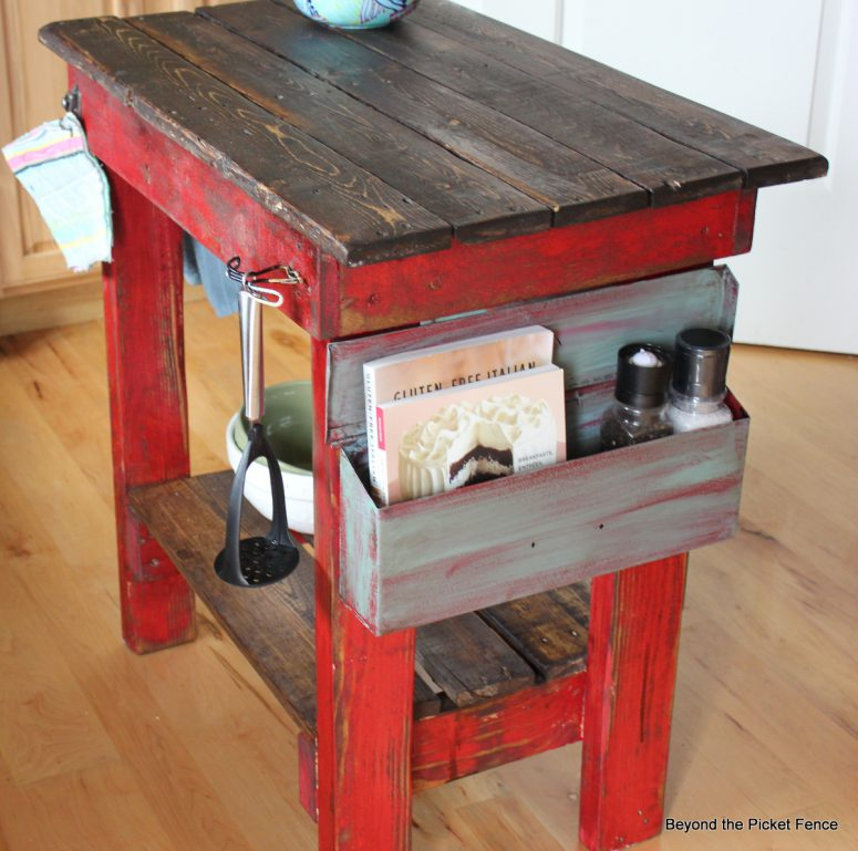 colorful diy kitchen island from pallet boards