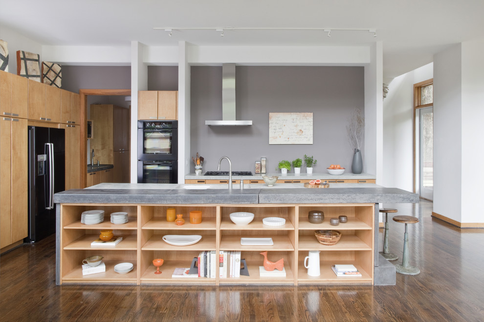 open shelving island provides lots of space for displaying silverware