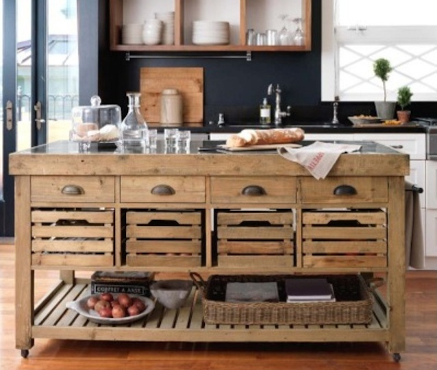 rustic looking kitchen island with storage crates