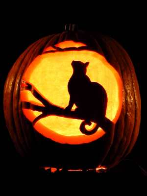 Moonlit cat carving