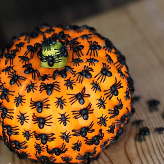 a pumpkin covered with black spiders is a cool idea for Halloween decor and it can be made in minutes, very easily and fast