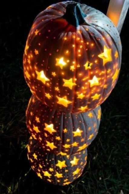 beautiful star jack-o-lanterns aren't scary at all and will match not only Halloween but also fall