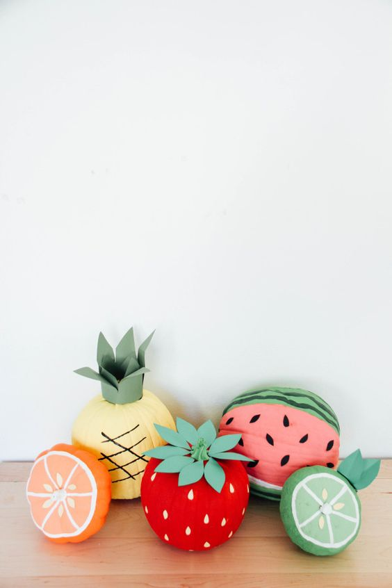 pumpkins styled as fresh summer fruit is a cool craft idea for those of you who badly miss summer and want it back