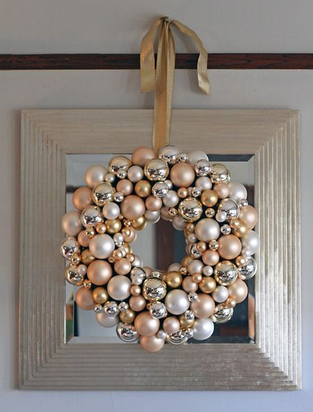 For some classy Christmas decor choose a simple bulb wreath.