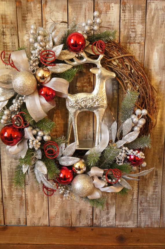 A Silver Reindeer Is A Great Addition To Any Holiday Wreath.