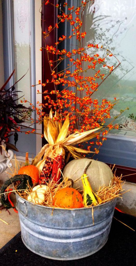 a bucket with hay, corn cobs, gourds, pumpkins and berries is a pretty rustic decoration for fall or Thanksgiving