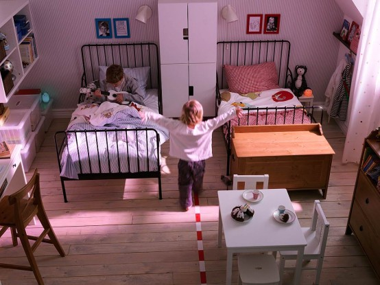 contemporary shared kids bedroom design by ikea