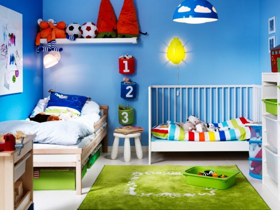 Amazing Shared room design for a baby and for a toddler All furniture and decor are