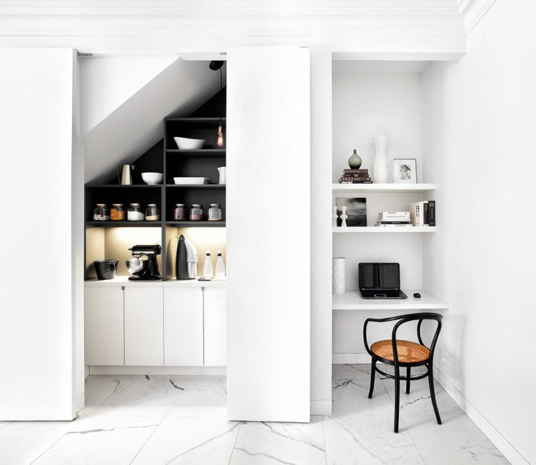 An awkward corner is a perfect place for a tiny home office that consists only of three floating shelves and a chair.