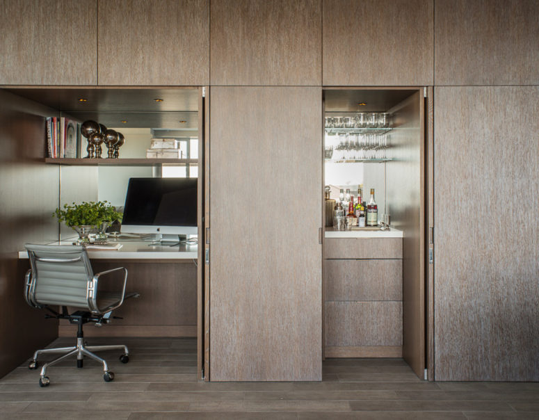A built-in home office is a great solution for an apartment. (Sutro Architects)