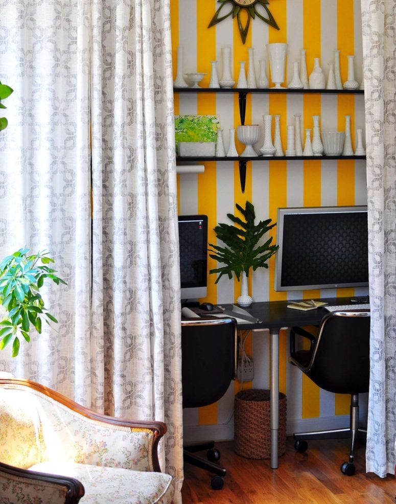 Hidden shared home office for two behind curtains could be organized in any room.