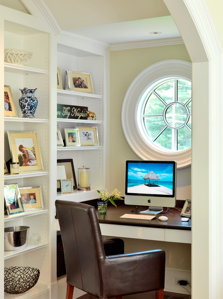 An Ox Eye Window Can Become A Focal Point Of Alcove Home Office