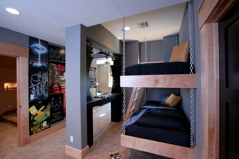 hanging maple bunk beds looks amazing in this sophisticated boys room - How To Decorate Boys Room Ideas