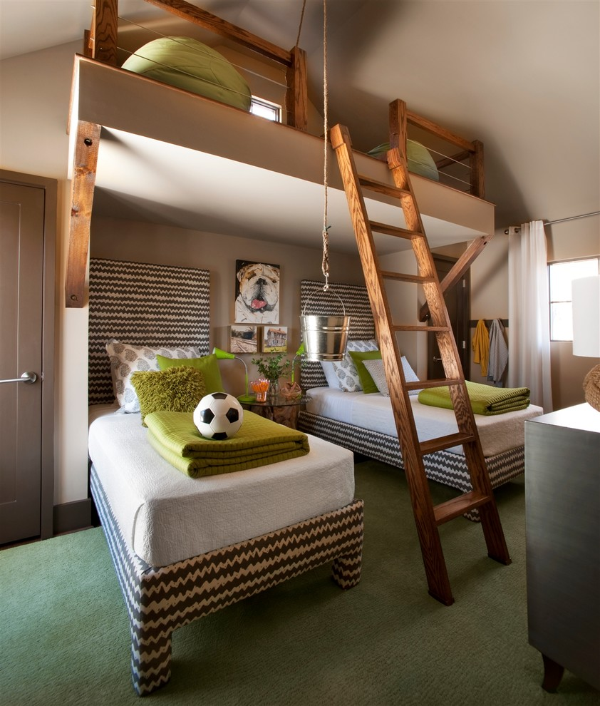 this loft bedroom is inspired by traditional treehouses but with a modern twist - Boys Room Design Ideas
