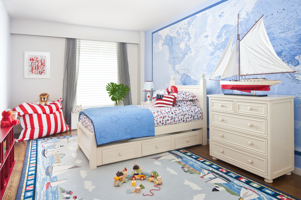 A thematic rug, a beautiful wall art and favorite toys could make any room shine.
