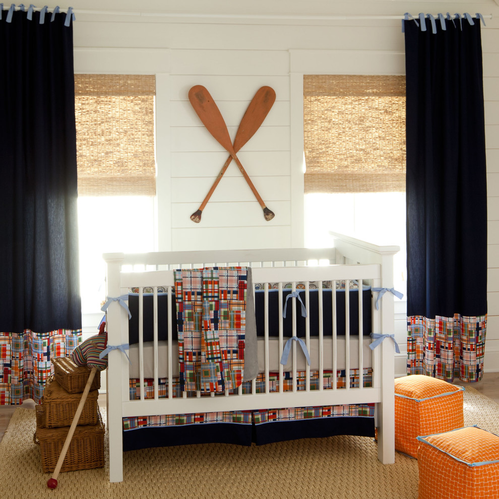 Beautiful Coastal inspired nursery design where whites and blues are mixed together well
