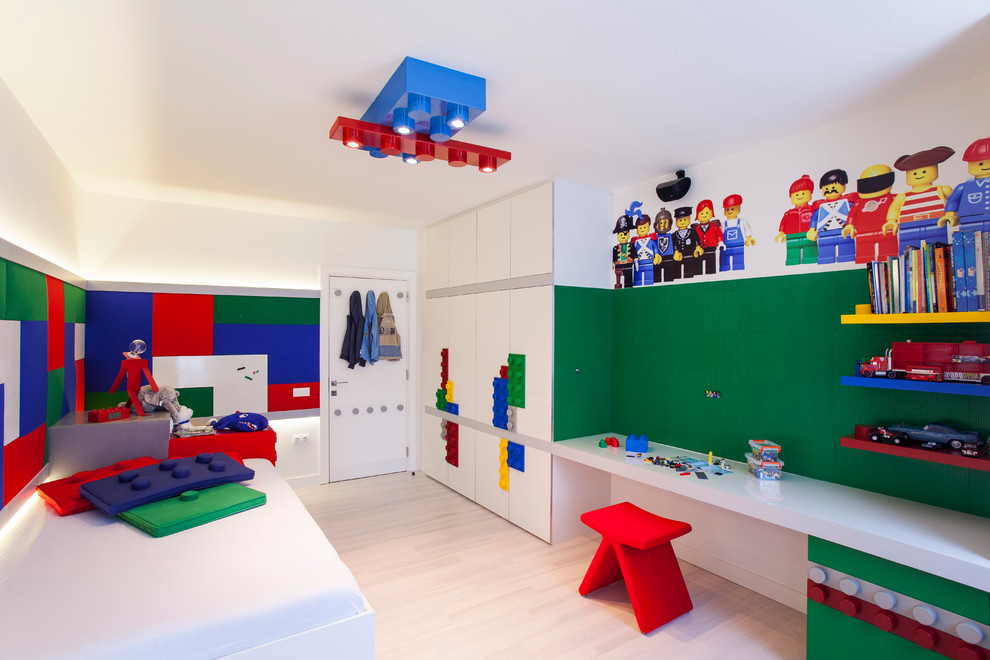 Unique Lego inspired light fixture pillows murals and cabinets turn this room into