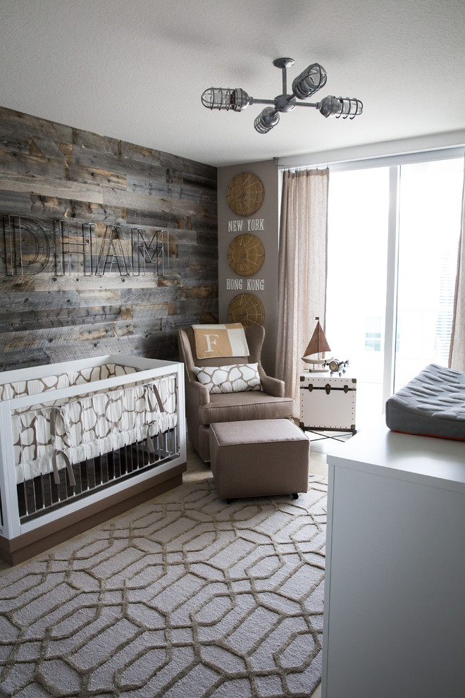 Whitewash wood walls are perfect for nurseries but rustic reclaimed wood planks could work too if you want an unique accent wall there.