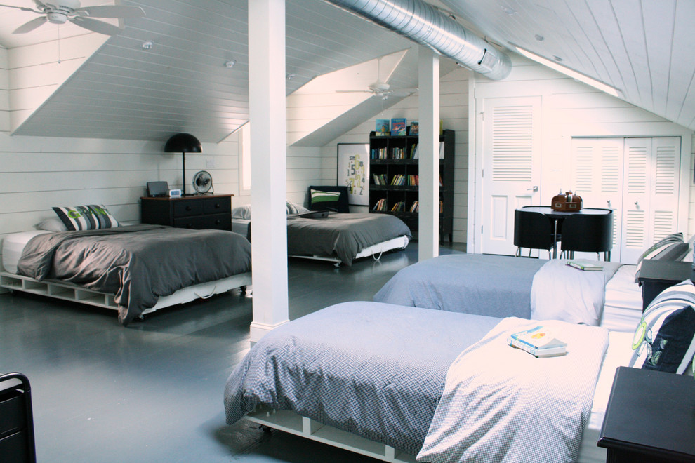an attic bedroom for four boys design in shades of gray