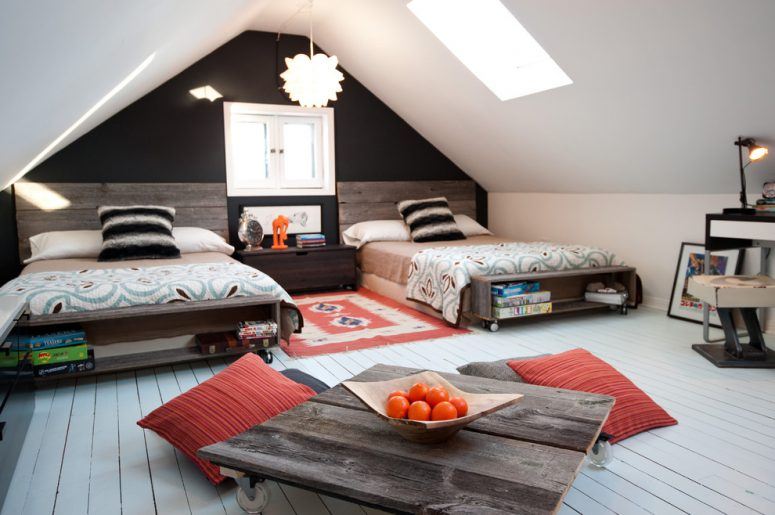 rustic neutral gender attic teen bedroom design with a cool movable table. 45 Wonderful Shared Kids Room Ideas   DigsDigs
