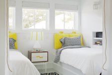 small loft-like shared bedroom design in white