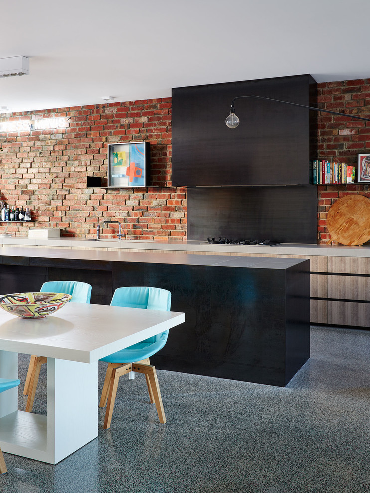 Whitewashed timber and polished concrete are perfect to mix with raw bricks.