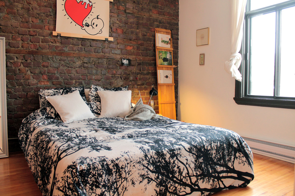 If you're choosing to preserve such wall in a bedroom make sure it to mix with an interesting bedding set.