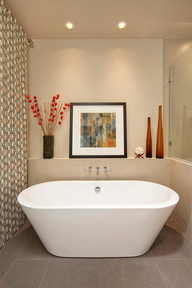 61 Calm And Relaxing Beige Bathroom Design Ideas - DigsDigs